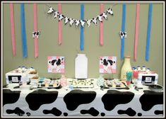 Moo #Cow #Baby #Shower Dessert Table. Click for more ideas if you plan a cow baby shower.