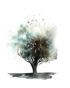 Watercolor Art Tree 62 Ideas For 2019 Tree Watercolor Painting, Watercolor Print, Painting & Drawing, Abstract Paintings, Landscape Paintings, Gray Tree, Ink Splatter, Summer Art, Tree Art