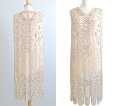 1920s Dress, 20s Flapper Wedding Dress, Ivory Silk Beaded Art Deco Dress by daisyandstella on Etsy