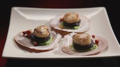 Scallops & Blood Sausage with Broad Bean Puree and Pancetta