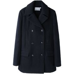 T by Alexander Wang Pilly Wool Peacoat (5.430 ARS) ❤ liked on Polyvore featuring outerwear, coats, jackets, coats & jackets, double breasted peacoat, wool coat, wool peacoat, short coat and short peacoat