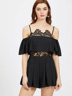 Shop Cold Shoulder Lace Insert Frill Playsuit online. SheIn offers Cold Shoulder Lace Insert Frill Playsuit & more to fit your fashionable needs.