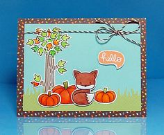 Lawn Fawn - Into the Woods, So Thankful stamps and dies, Into the Woods papers, Hot Cocoa twine _ card by Lynnette