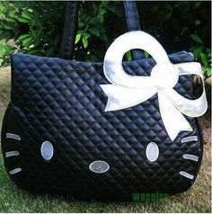 niceEshop Hello Kitty Head Shaped Tote Shoulder Bag-Black Silver Carry on Purse Hello Kitty Purse, Hello Kitty Items, Tote Handbags, Purses And Handbags, Leather Handbags, Versace, Head Shapes, Here Kitty Kitty, Cute Bags