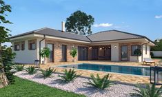 Tropical House Design, Small House Design, Bungalow Homes, Bungalow House Design, House Plans Mansion, Stone Houses, Home Design Plans, Home Fashion, House Tours