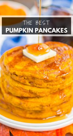 Pumpkin Spice Pancakes make the best fall breakfast. Thick, fluffy, and filled with cozy spices, these pancakes are simple to make and so delicious! #pancakes #pumpkinpancakes #pumpkinpancakerecipe #pumpkinspicepancakes #pumpkinbreakfast #fallbreakfast #breakfast
