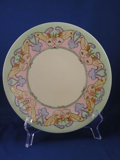 "Jean Pouyat (JP) Limoges Arts & Crafts Butterfly Motif Plate (Signed ""W.E. Durkee""/c.1890-1932)"