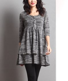 Loving this Charcoal Melange Empire-Waist Dress on #zulily! #zulilyfinds
