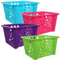 Bulk Colorful Stacking Plastic Storage Bins at DollarTree.com