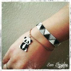 Miyuki panda ve bileklik takım #panda #bileklik #miyuki #beads #bracelet #takı #tasarım #sundesign #siyahbeyaz #jewellery #beads #peyote #stitch #pattern #fashion #moda #stil