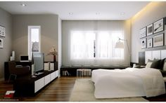 Modern bedroom black white with natural light home decorators