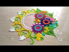 Rangoli designs with color/unique and innovative super easy rangoli design by jyoti Rathod - YouTube