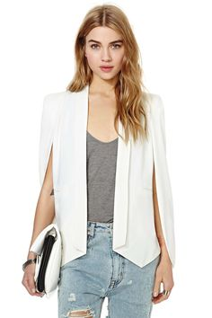 White Lapel Split Long Sleeve Pockets Blazer - Fashion Clothing, Latest Street Fashion At Abaday.com
