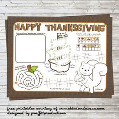 awesome FREE printable placemat for thanksgiving kids table.