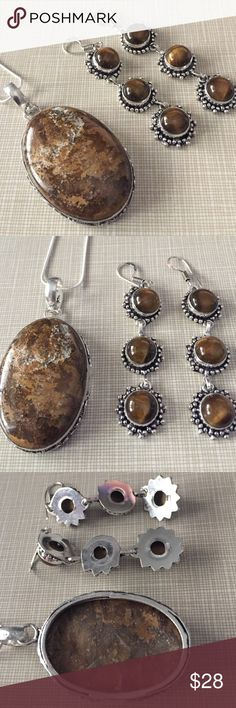Beautiful tigers eye set Tigers eye gem pendant and earrings with 18' chain silver stamped inlay approximately 2'1/2 long earrings are3'long NWOT substantial earthy stone Jewelry Necklaces