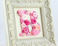 Button letter frame art button initial art by SimplyImperfected
