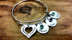 Family Bangle Bracelet, Family Name Bracelet, Personalized Family Bracelet, Hand Stamped Charm Bracelet, Gift for Mom, Mothers Day Gift by JazzieJsJewelry on Etsy