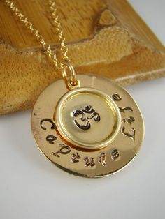Om Pendant Necklace Spiritual Jewelry Gift by ShinyLittleBlessings, $43.00
