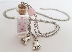 Newborn baby necklace with rose quartz. Made to order by totesBOHO Rose Quartz Crystal, Crystal Beads, Baby Necklace, Message In A Bottle, Personalized Baby Gifts, Newborn Baby Gifts, Baby Feet, Baby Names, Glass Bottles