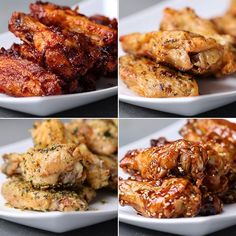 Oven-Baked Chicken Wings 4 Ways Serves 1-2  Baked Chicken Wings  INGREDIENTS  1½ pounds chicken wings 2 teaspoons baking powder ¼ teaspoon salt  PREPARATION  1. Preheat oven to 250˚F/130˚C. 2. Place wings in a large bowl and pat dry.  3. Add the baking powder and salt to the wings. Stir to coat.  4. Spray a baking rack with nonstick cooking spray and place on top of a foiled sheet pan. Distribute wings evenly on top, making sure none of them touch and they are all face-up. 5. Bake for 35…