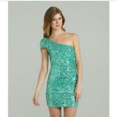 Jodi Kristopher Green Sequin Dress Worn a few times. May have some very minor pulls but they aren't noticeable because of the sequins. One shoulder, and zips on the left side from about hip to breast. Great as a club or party dress! Jodi Kristopher Dresses Prom