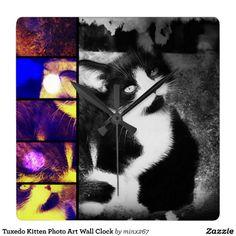 Tuxedo Kitten Photo Art Wall Clock