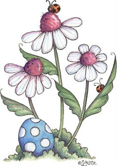 illustrations by L. Pintura Country, Arte Country, Tole Painting, Fabric Painting, Painting & Drawing, Doodle Art, Easter Flowers, Country Paintings, Flower Doodles
