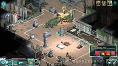 Three-way graveyard shootout environment between protagonists (center), villain henchmen (bottom), and ghouls (top-left) in Shadowrun Returns