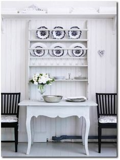 DIY this look by putting a table and a plate rack (which you can easily make) together as one piece. by Custom Reproduction Gustavian Furniture