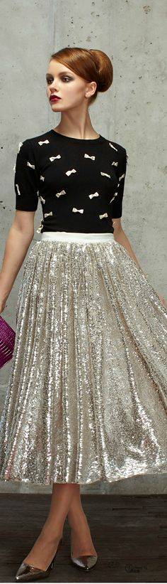Alice + Olivia ● Retro 50's Style Silver Sequin Metallic Long Skirt valentines day style #UNIQUE_WOMENS_FASHION