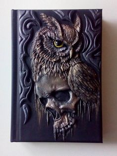 Skull & owl, polymer clay journal, notebook, fantasy, goth, 98 blank sheets