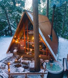 Are A-frame Cabin Kits Worth it? A Frame Cabin, A Frame House, Tiny House Cabin, Log Cabin Homes, Log Cabins, Cottage Design, House Design, Triangle House, Cabins And Cottages