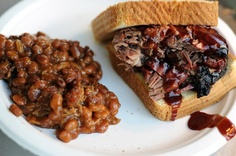 Brisket sandwich and baked beans from Monk's BBQ located at Corcoran Brewing Company in Waterford.