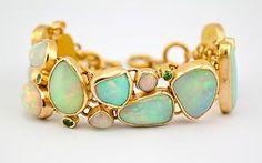 """Ethiopian Opal Beauty""  Gold & Stone Bracelet  Created by Pamela Huizenga"