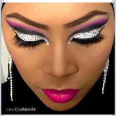 #arabic pink and black with crystals #makeupbypinky