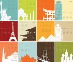 Printable Calendar 2012 - Landmark Architecture, Building Silhouettes, travel destinations - colorful illustrations
