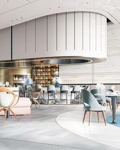 Sopra Le Nuvole Restaurant / Burj khalifa-Dubai-UAE on Behance Luxury Restaurant, Restaurant Interior Design, Commercial Interior Design, Shop Interior Design, Cafe Design, Commercial Interiors, Retail Design, Restaurant Bar, Lobby Interior