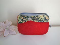 44cfa3e431 Floral Cotton wash bag toiletries bag handmade by GerdaBags. See more. Red  Tweed and Liberty cotton zipper pouch - coin purse - handmade - store cards  -