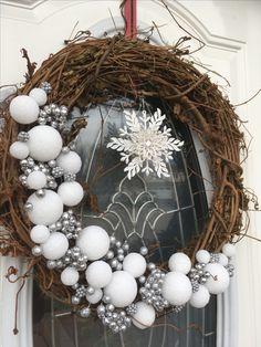 Christmas snowball grapevine wreath