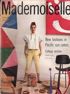 Numerous Eames designs in this photograph, featured on the cover of MADEMOISELLE magazine in 1953.  The colorful panels are from the EAMES TOY, there's the Eames molded plywood child's chair, and the Eames three-legged DCM model.  Everything in this photograph belonged to Charles and Ray Eames, in whose house this photo was taken.