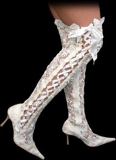 Sexy Knee High Boots with high heels from Sexy Shooz, UK. Sexy Boots with stilettos for women and men. Sexy Boots, Sexy Heels, White Boots, White Lace, Cute Shoes, Me Too Shoes, Sexy Stiefel, Wedding Boots, Bridal Shoes
