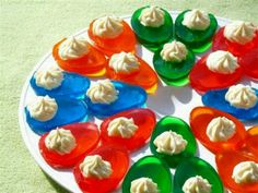 Pour Jell-o in your deviled egg holder and put in the fridge. When set up put a little whipped cream on them. Yum!