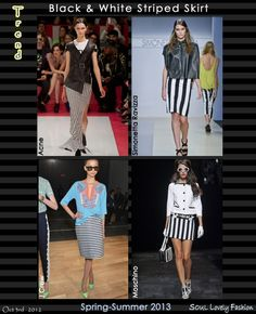 Black & White Striped Skirt  Trend for Spring Summer 2013.  #Striped #Fashion #Stripes   Oct 3rd 2012 11:50pm GMT.