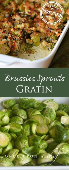 Brussels Sprouts Gratin - Once Upon a Chef Side Dishes Easy, Vegetable Side Dishes, Side Dish Recipes, Vegetable Recipes, Dinner Recipes, Tapas, Cooking Recipes, Healthy Recipes, Frugal Meals