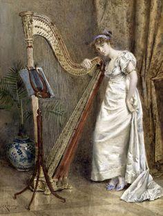 The harpist  George Goodwin Kilburne (Born: July 24, 1839, United Kingdom - Died: 1924, London, United Kingdom)