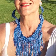 Crochet Necklace and Earrings Blue  Color  With a by knittee