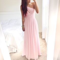 Prom Dress,Luxurious A-Line Floor Length Chiffon One Shoulder