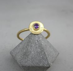 Small Amethyst stacking ring, Purple gemstone ring, Gold disc ring, Open Ring Adjustable Size Gold Rings, Gemstone Rings, Open Ring, Purple Amethyst, Stacking Rings, Jewlery, Heart Ring, Silver, Beautiful