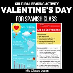 15+ Ideas from around the web for Valentine's Day in Spanish class       Lista lunes: Valentine's Day in Spanish class   *New*  Valentine's...