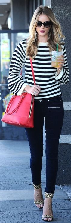 #spring #street #style #stripe #outfitideas | Black And White Nautical Stripe Pullover + Black Jeans